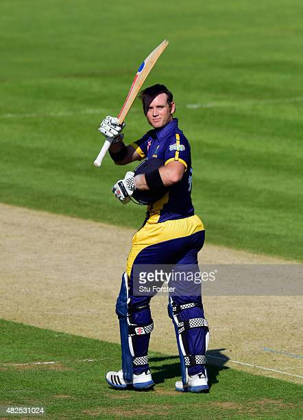 Glamorgan batsman Colin Ingram celebrates after reaching his century during the Royal London OneDay cup match between Glamorgan and Essex at SWALEC...
