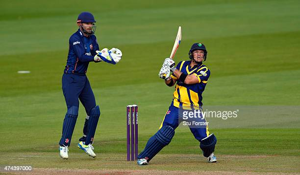 Glamorgan batsman Colin Ingram hits out watched by Essex keeper James Foster during the NatWest T20 Blast match between Glamorgan and Essex at SWALEC...