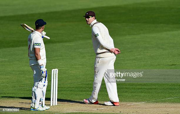 Glamorgan batsman Jacques Rudolph chats with Surrey player Kevin Pietersen as the game edges towards a draw during day four of the LV County...