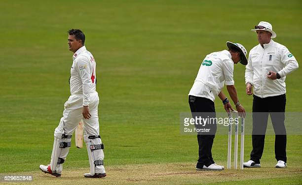Glamorgan batsman Jacques Rudolph reacts after being run out during day two of the Specsavers County Championship Division Two match between...
