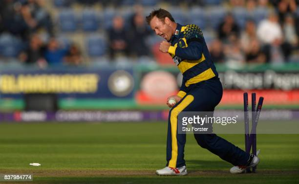 Glamorgan bowler Colin Ingram celebrates after running out Leicestershire batsman Aadil Ali during the NatWest T20 Blast QuarterFinal match between...