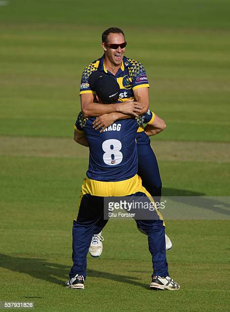 Glamorgan bowler Dean Cosker celebrates with fielder Graham Wagg after dismissing Hampshire batsman Jimmy Adams during the NatWest T20 Blast match...