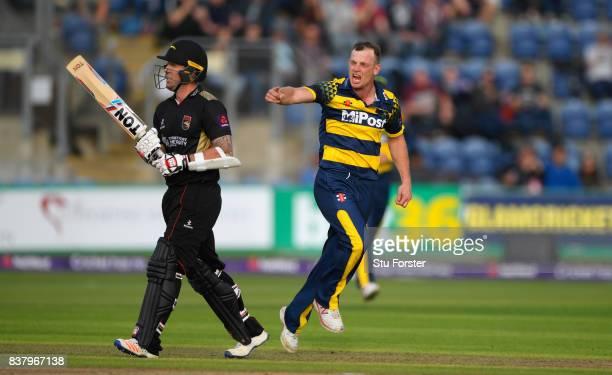 Glamorgan bowler Graham Wagg celebrates after dismissing Leicestershire batsman Luke Ronchi during the NatWest T20 Blast QuarterFinal match between...