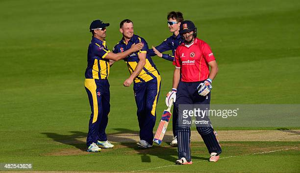 Glamorgan bowler Graham Wagg celebrates after dismissing Essex batsman Nick Browne during the Royal London OneDay cup match between Glamorgan and...