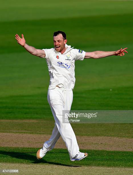 Glamorgan bowler Graham Wagg celebrates after taking the wicket of Essex batsman Nick Browne during day three of the LV County Championship Division...