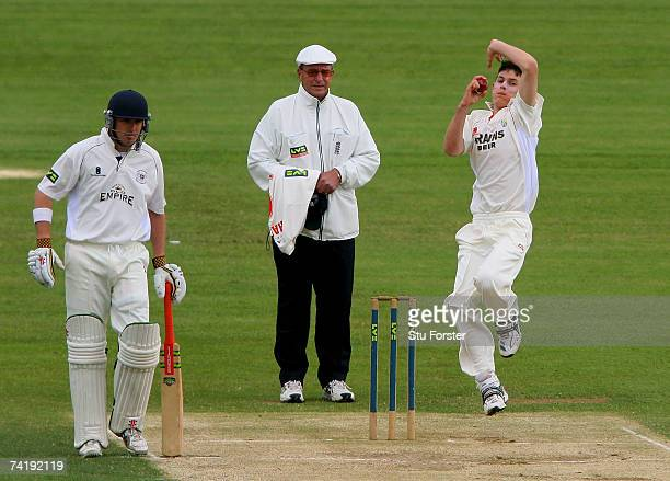 Glamorgan bowler James Harris bowls during the Liverpool and Victoria County Championship Division Two Game between Gloucestershire and Glamorgan at...
