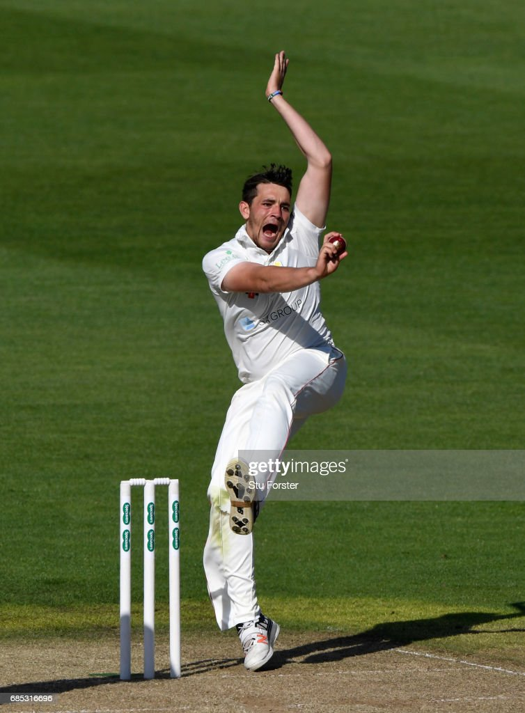 Glamorgan bowler Lukas Carey in action during Day One of the Specsavers County Championship Divsion Two match between Glamorgan and Nottinghamshire at SWALEC Stadium on May 19, 2017 in Cardiff, Wales.