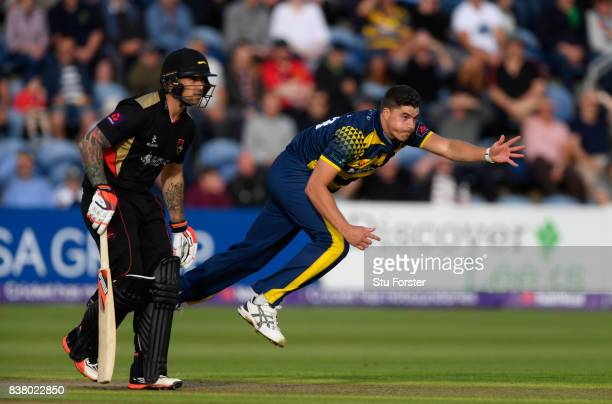Glamorgan bowler Marchant de Lange in action during the NatWest T20 Blast QuarterFinal match between Glamorgan and Leicestershire Foxes at SWALEC...