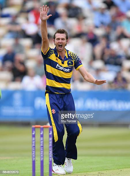 Glamorgan bowler Michael Hogan appeals for a wicket during the Royal London OneDay Cup between Glamorgan and Hampshire at St Helens on July 31 2016...