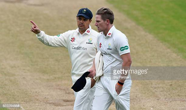 Glamorgan bowler Timm van der Gugten and captain Jacques Rudolph discuss field settings during day two of the Specsavers second division County...
