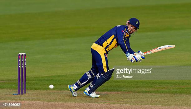 Glamorgan captain Jacques Rudolph hits out during the NatWest T20 Blast match between Glamorgan and Essex at SWALEC Stadium on May 22 2015 in Cardiff...