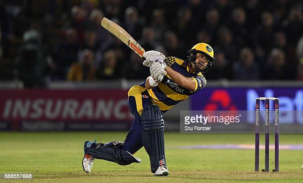 Glamorgan captain Jacques Rudolph hits out during the quarter final of the NatWest T20 Blast between Glamorgan and Yorkshire Vikings at Swalec...