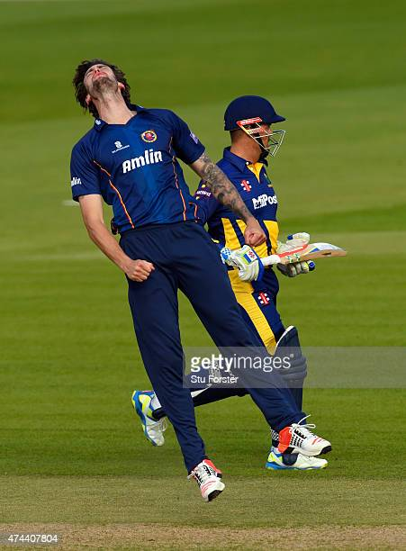 Glamorgan captain Jacques Rudolph picks up a run as Essex bowler Reece Topley reacts during the NatWest T20 Blast match between Glamorgan and Essex...