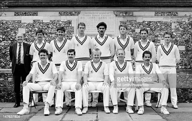 Glamorgan county cricket team circa May 1988 Back row GN Lewis Geoff Holmes John Derrick Steve Watkin Ravi Shastri Greg Thomas Matthew Maynard Colin...