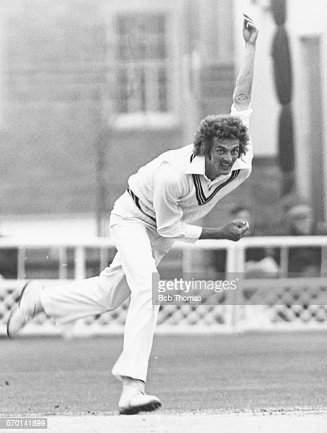 Glamorgan cricketer Allan Jones bowling during a match circa 1980