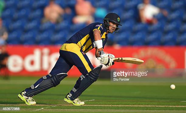 Glamorgan Dragons batsman Jacques Rudolph picks up some runs during his 44 not out during the Natwest T20 Blast match between Glamorgan and...