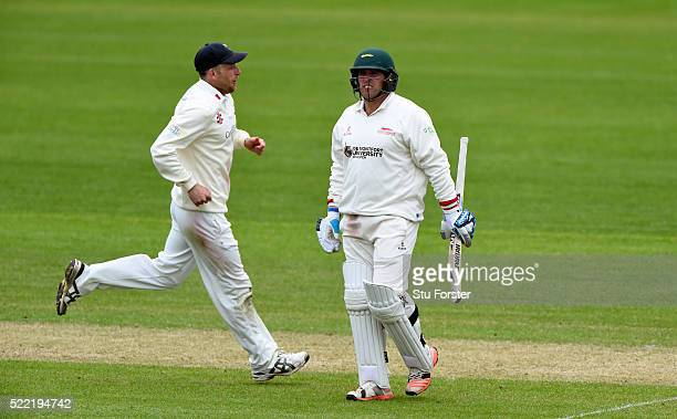 Glamorgan fielder Graham Wagg celebrates as Leicestershire batsman Mark Cosgrove leaves the field after being dismissed for nought during day two of...