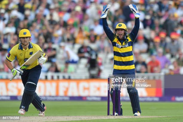 Glamorgan's Chris Cooke successfully appeals for the wicket of Birmingham's Sam Hain during the NatWest T20 Blast Finals Day at Edgbaston Birmingham