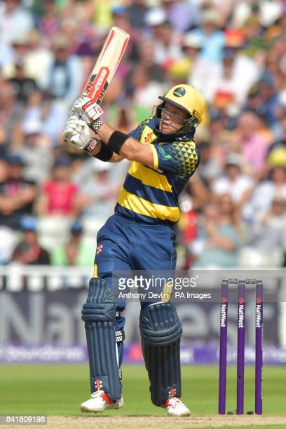 Glamorgan's Colin Ingram looks on as he is caught by Birmingham's Grant Elliott during the NatWest T20 Blast Finals Day at Edgbaston Birmingham