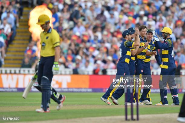 Glamorgan's Craig Meschede celebrates taking the wicket of Birmingham's Sam Hain during the NatWest T20 Blast Finals Day at Edgbaston Birmingham
