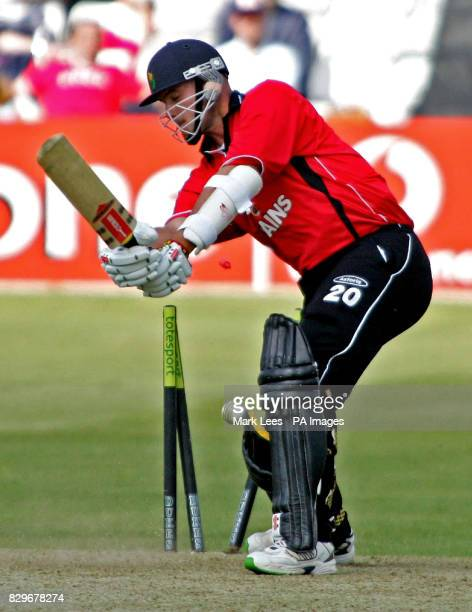 Glamorgan's David Harrison is clean bowled by Essex's Darren Gough