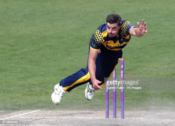 Glamorgan's Marchant de Lange bowls during the Royal London One Day Cup at the 1st Central County Ground Hove