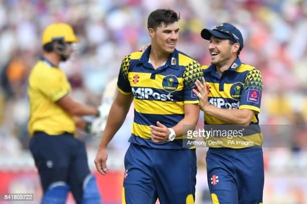 Glamorgan's Marchant de Lange celebrates taking the wicket of Birmingham's Colin de Grandhomme during the NatWest T20 Blast Finals Day at Edgbaston...