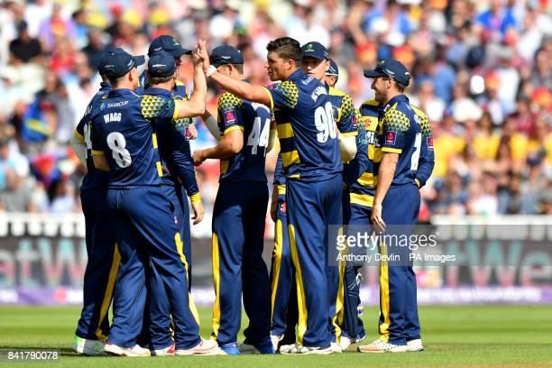 Glamorgan's Marchant de Lange celebrates taking the wicket of Birmingham's Ed Pollock during the NatWest T20 Blast Finals Day at Edgbaston Birmingham