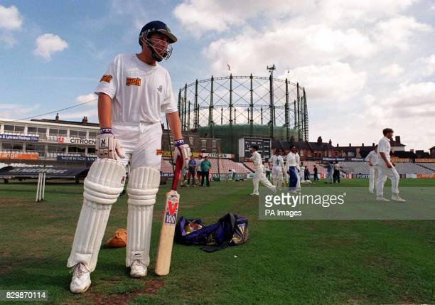 Glamorgan's uncapped offspinner Robert Croft brushes up on his batting at the Oval today as he prepares to battle for England in the Third Test...