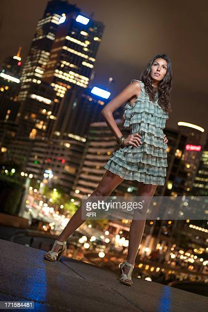 Glamorous Beauty, Outdoor Fashion at Night, Sydney