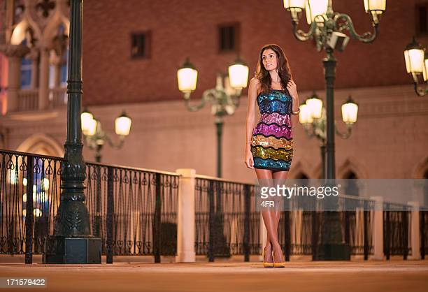 Glamorous Beauty, Outdoor Fashion at Night, Venice, Italy (XXXL)