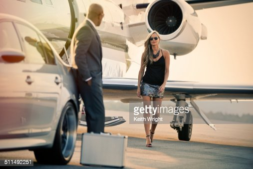 Glamorous Couple Flying On A Private Jet Stock Photo  Getty Images