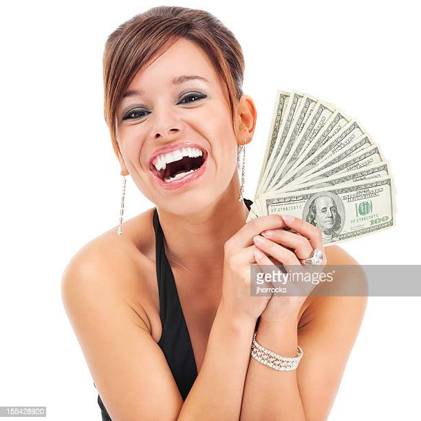 Glamorous Young Woman Holding Money