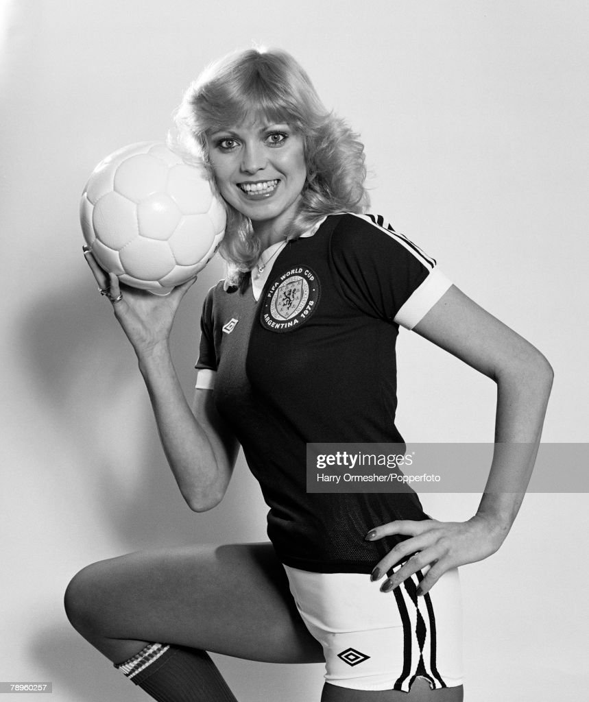 A model wears the Scotland Football strip, that the players will wear during the 1978 World Cup to be played in Argentina, May 1978