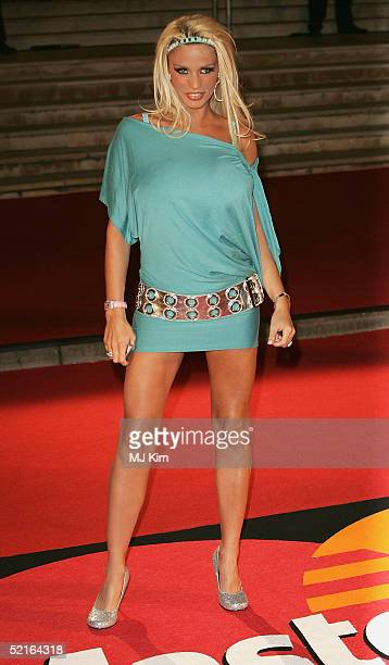 Glamour model Jordan arrives at the 25th Anniversary BRIT Awards 2005 at Earl's Court February 9 2005 in London
