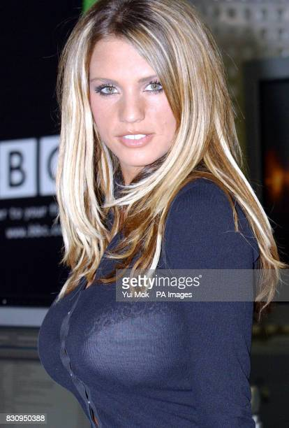 Glamour model Jordan at a photocall before her live interview on the web at BBCi's new studio at Bush House in Aldwych central London Jordan is the...