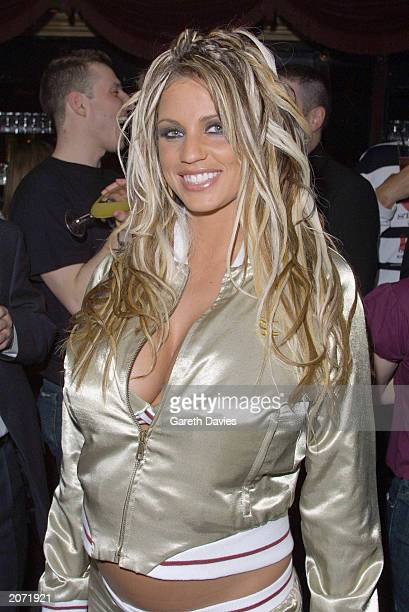 Glamour model Jordan attends the party for the London premiere of 'Ali G In Da House' at the Mayfair Club London March 20 2002