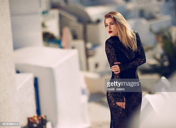 glamour model posing in Greece