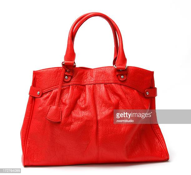 Glamour red handbag on the wite background