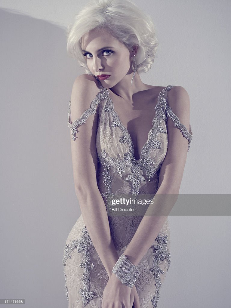 glamourous blonde woman modeling