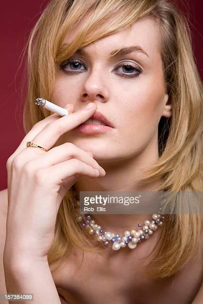 Glamourous smoking woman