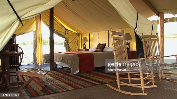 'Glamping' tents with heating and air conditioning are available at Westgate River Ranch a resort in Lake Wells Fla