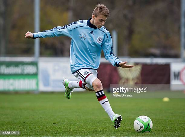 GlanLuca Itter of Germany warms up before the international friendly match between U16 Czech Republic and U16 Germany on November 11 2014 in Prague...