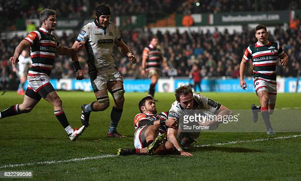 Glasgow captain Jonny Gray goes over for the fourth try during the European Rugby Champions Cup match between Leicester Tigers and Glasgow Warriors...