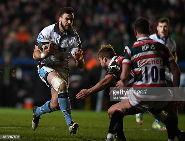 Glasgow centre Alex Dunbar charges at the Tigers defence during the European Rugby Champions Cup match between Leicester Tigers and Glasgow Warriors...
