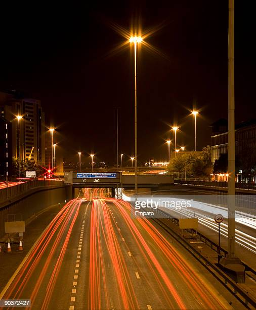 Glasgow City Centre at night showing M8 Motorway Traffic.