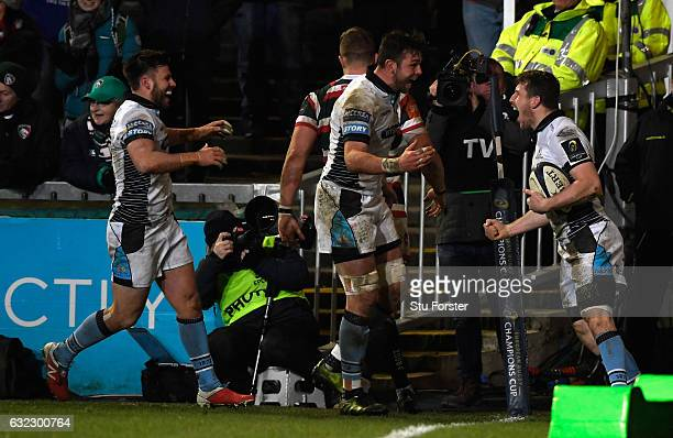 Glasgow player Mark Bennett celebrates the third try during the European Rugby Champions Cup match between Leicester Tigers and Glasgow Warriors at...