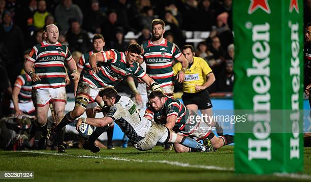 Glasgow player Ryan Wilson goes over for the fifth try during the European Rugby Champions Cup match between Leicester Tigers and Glasgow Warriors at...