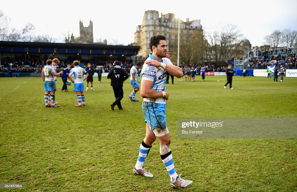 Glasgow player Sean Maitland holds his injured shoulder after the European Rugby Champions Cup match between Bath Rugby and Glasgow Warriors at...