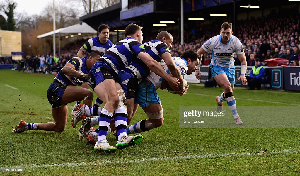 Glasgow player Sean Maitland is stopped just short of the try line in the last minute by the Bath defence during the European Rugby Champions Cup...